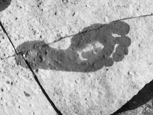 footprint on stone