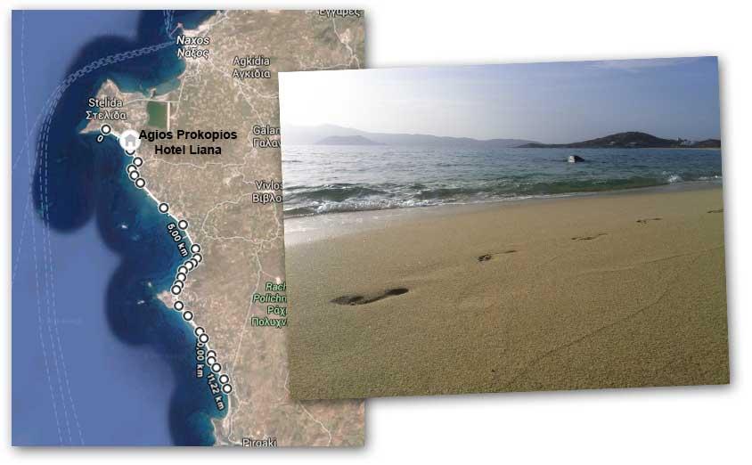 Naxos Barfuss-Strand Map